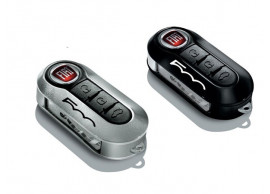 50927027 Fiat 500 sleutelbehuizingset zwart en lichtgrijs met 500-logo