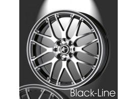 musketier-citroën-c2-lichtmetalen-velg-zwart-line-7x16-zwart-gepolijst-zwarte-rand-C24446BP
