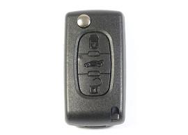PEU104A Peugeot klapsleutelbehuizing met 3 knoppen batterij in behuizing