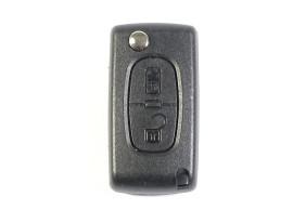Peugeot klapsleutelbehuizing met 2 knoppen met batterij op de printplaat