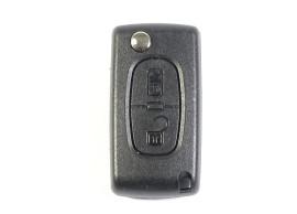 CIT106B Citroën klapsleutelbehuizing met 2 knoppen MET batterij op de printplaat