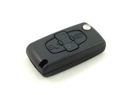 PEU114B Peugeot klapsleutelbehuizing met 4 knoppen batterij op printplaat
